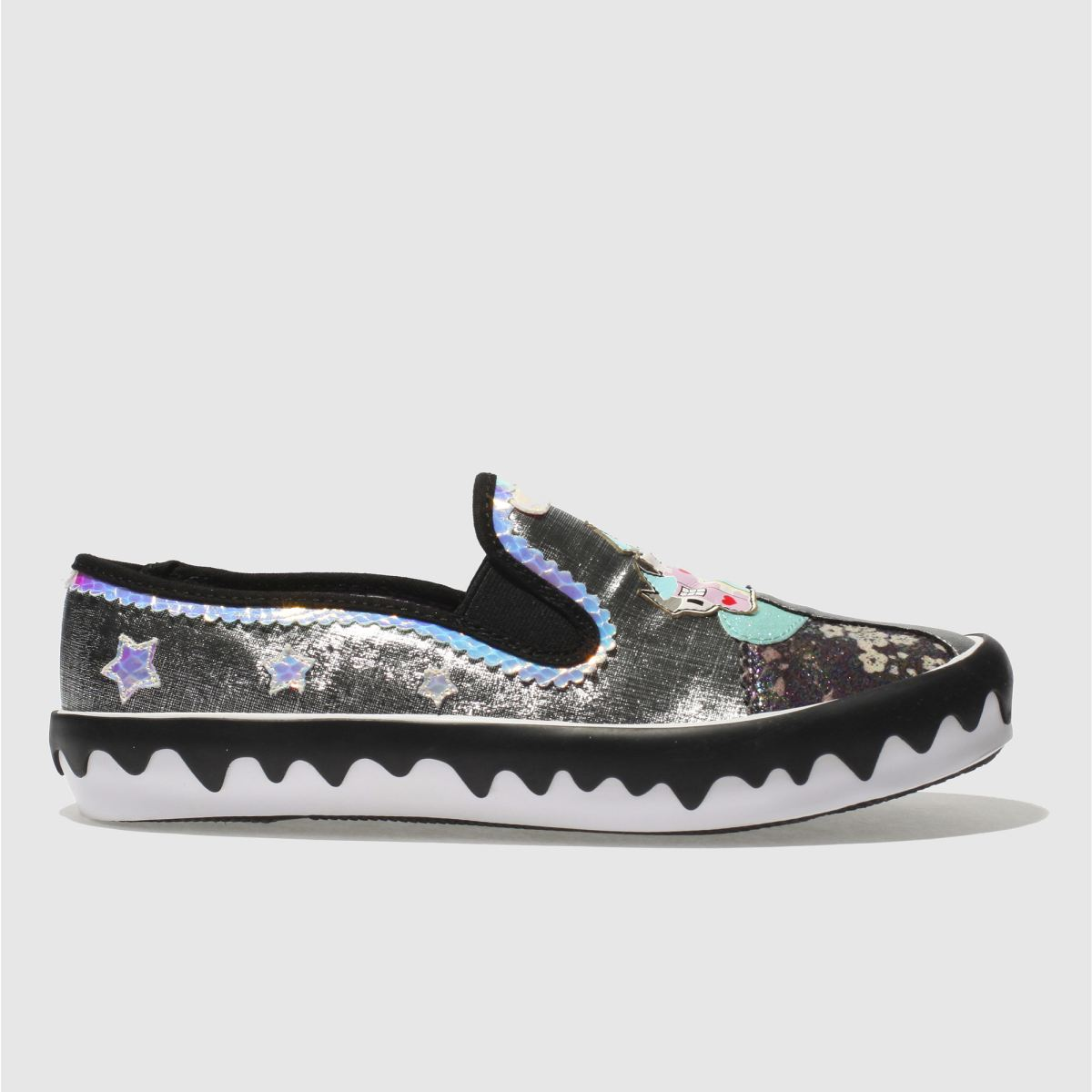 Irregular Choice Irregular Choice Black & Silver Mistys Castle Flat Shoes