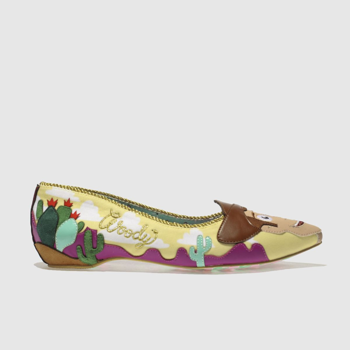Irregular Choice Irregular Choice Yellow & Brown Round Up Gang Flat Shoes