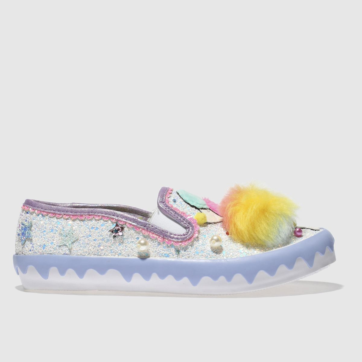 Irregular Choice Irregular Choice White & Purple Pom Pom Poodle Flat Shoes