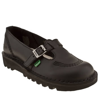 Womens Kickers Black Lo T-bar Flats