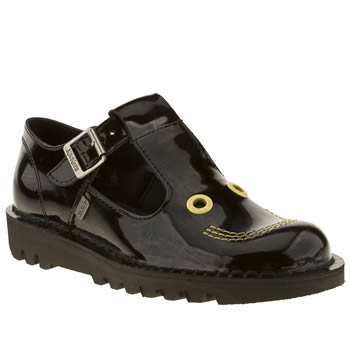 womens kickers black kick smiley patent flat shoes