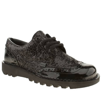 womens kickers black kick lo glitter brogue flat shoes