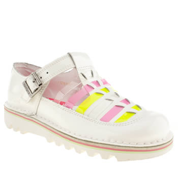 womens kickers white & pink kick t-bar hurache patent flat shoes