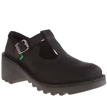 Womens Kickers Black Kopey T-bar Flats