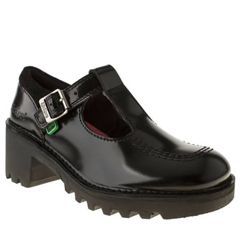 Kickers Black Kopey T-bar Flats
