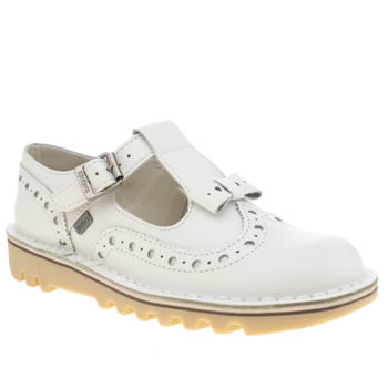 Womens Kickers White Bow Brogue Flats