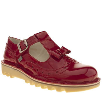 Kickers Red Bow Brogue Patent Flats