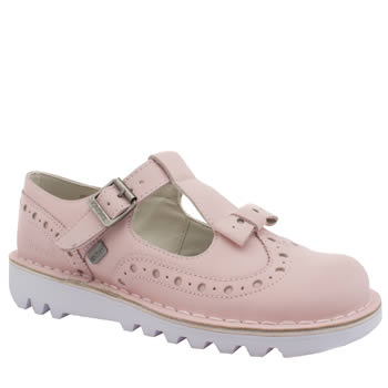 Kickers Pale Pink Bow Brogue Flats