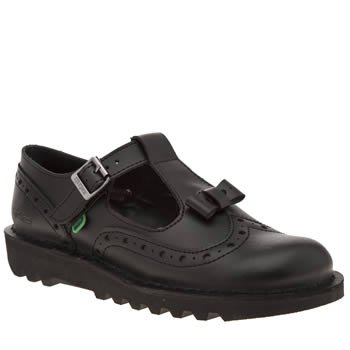 Womens Kickers Black Bow Brogue Flats