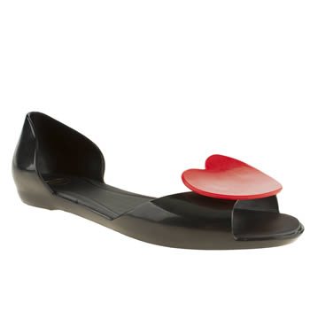 womens mel black & red fresh heart flat shoes