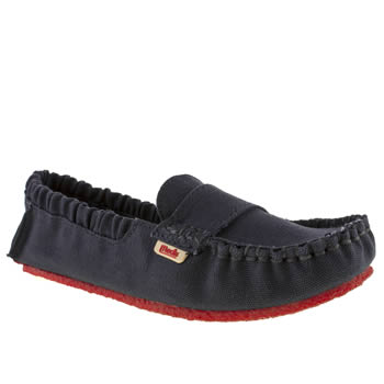 Mocks Navy Canvas Moccasin Flats