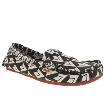 Mocks Black & White Canvas Mocc Asymmetric Flats