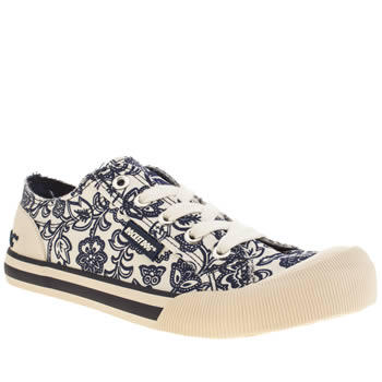 Womens Rocket Dog White & Pl Blue Jazzin Mootea Flats
