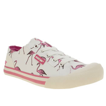 Womens Rocket Dog White & Pink Jazzin Long Legs Flats