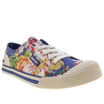 Womens Rocket Dog White & Blue Jazzin Iv Opa Flats