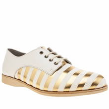 Rollie Nation White & Gold Derby Womens Flats