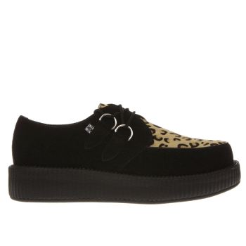 T.U.K Black & Brown Viva Lo Sole Creeper Womens Flats