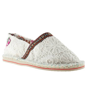 womens tigerbear republik white & pink hicky lace flat shoes