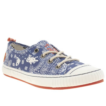 Womens Tigerbear Republik White & Blue Tangle Lzy Lamb Trainers