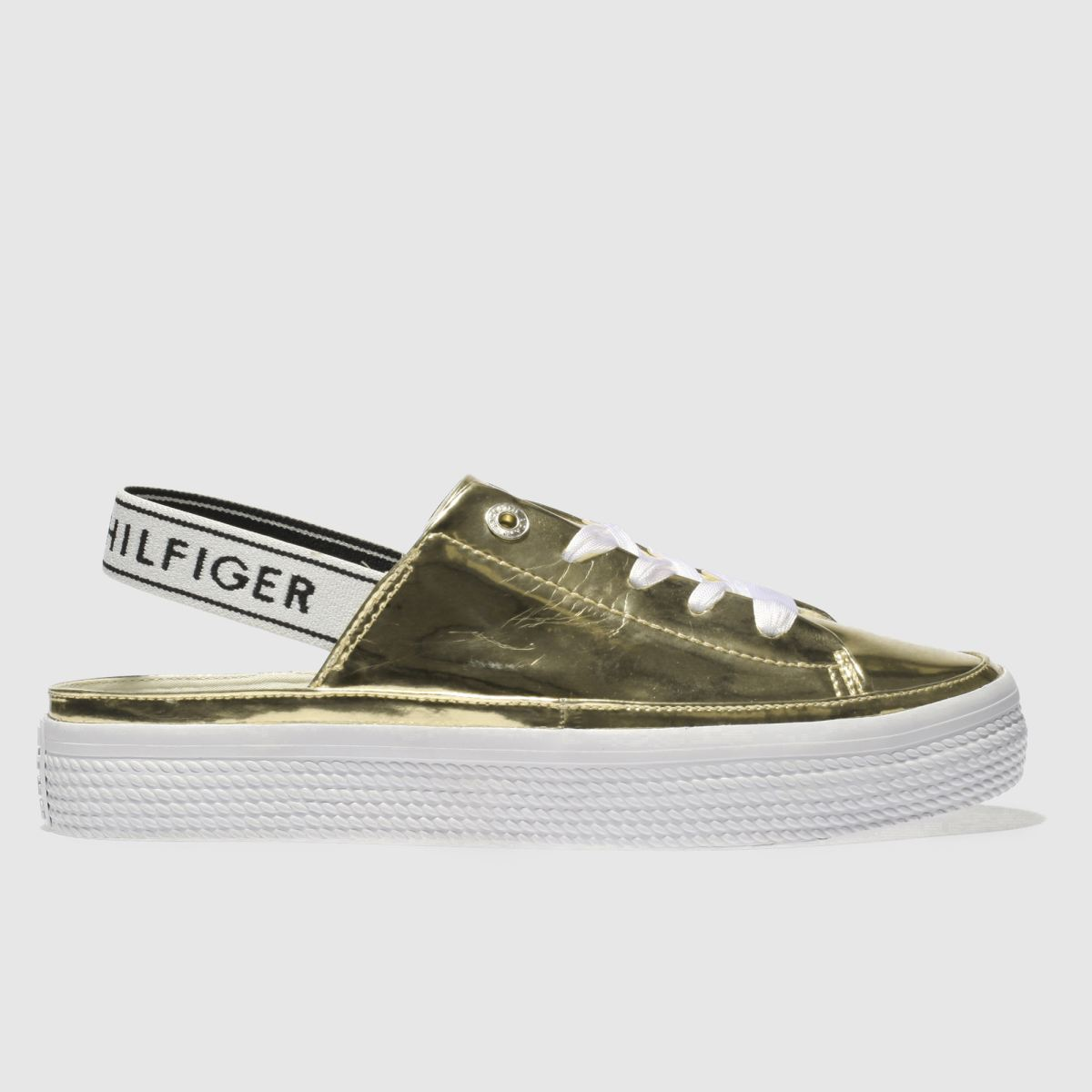 Tommy Hilfiger Gold Mirror Metal Sling Back Trainers