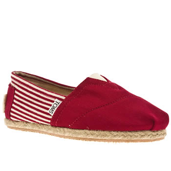 womens toms red university classic stripe flat shoes