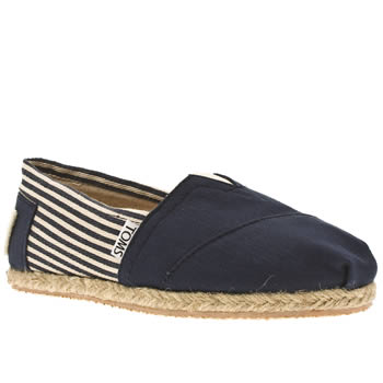 womens toms navy & white university classic stripe flat shoes