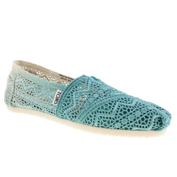 Womens Toms Turquoise Classic Crochet Dip-dye Flats