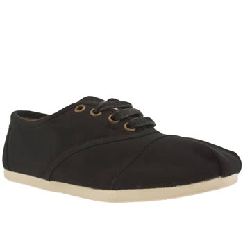 womens toms black cordones flat shoes