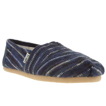 womens toms navy & white classic seasonal stripe knit flat shoes