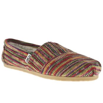 womens toms multi classic seas stripe knit flat shoes