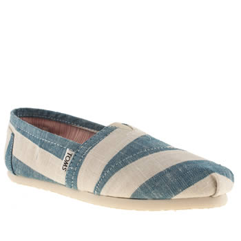 womens toms white & pl blue classic seasonal flat shoes
