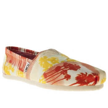 womens toms white & orange classic seasonal palm tree flat shoes