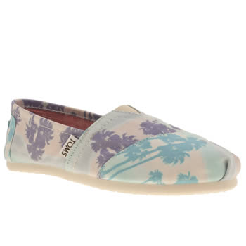 womens toms navy & pl blue classic seasonal palm trees flat shoes