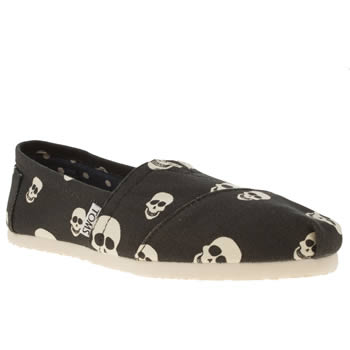 womens toms black & white classic seasonal skulls flat shoes