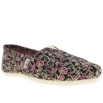 womens toms black & pink classic seasonal floral flat shoes