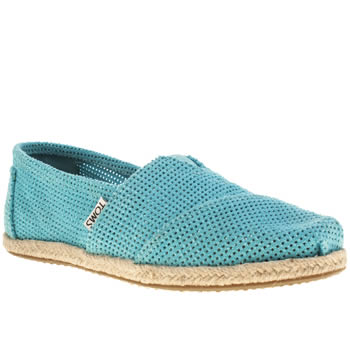 Womens Toms Turquoise Seasonal Freetown Rope Sole Flats