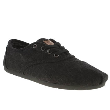 womens toms black cordones seasonal ii wool flat shoes