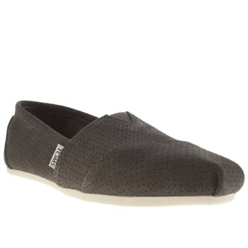 Toms Dark Grey Classic Seasonal Perf Flats