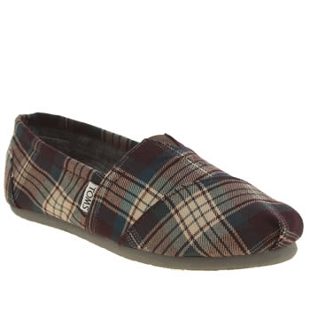 Womens Toms Purple Classic Seasonal Plaid Flats