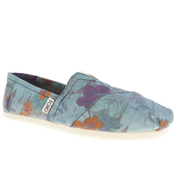 womens toms blue classic seasonal iii flat shoes