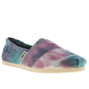 womens toms pale blue classic seasonal tie dye flat shoes