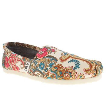 Womens Toms Beige & Red Classic Seasonal Paisley Flats