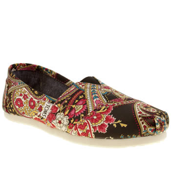 womens toms black classic seasonal paisley flat shoes
