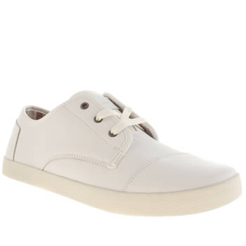 Toms White Paseos Leather Flats