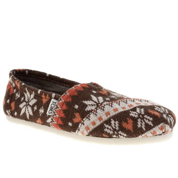 Toms Brown & Orange Classic Sea Fairisle Knit Flats