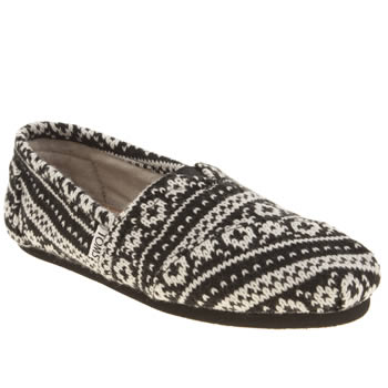 Toms Black & White Classic Sea Fairisle Knit Flats