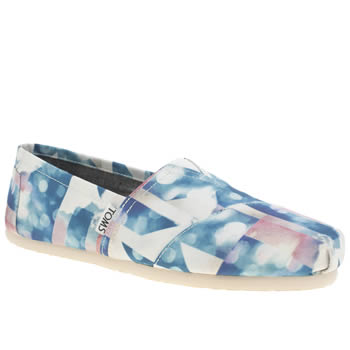 Womens Toms White & Blue Classic Seasonal Cloudscape Flats