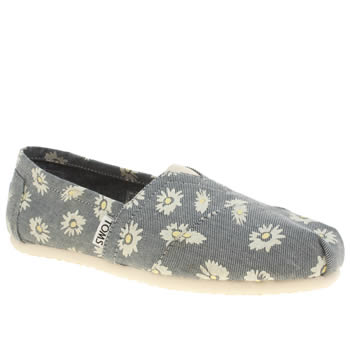 Womens Toms Pale Blue Classic Seasonal Daisy Denim Flats