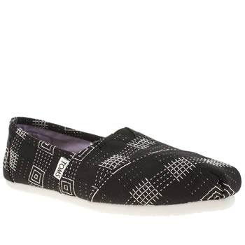 Toms Black & White Classic Seasonal Embroidered Flats