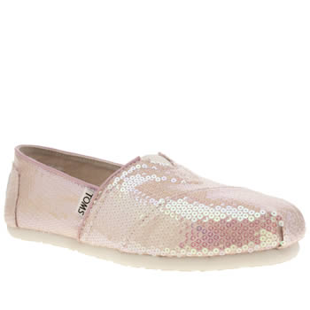 Womens Toms Pink Classic Seasonal Sequins Flats